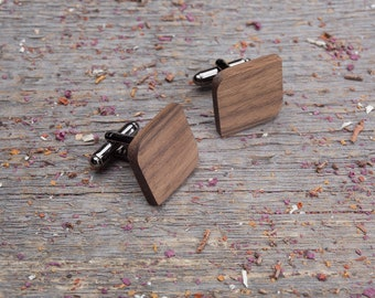 Wood Cufflinks, Rounded Square cufflinks, Wedding Cufflinks, 5th Wedding Anniversary Present, cufflinks for men, groomsmen, customized