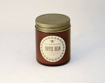Coffee Bean Candle || 8.5 oz Scented Candle || Soy + Beeswax Blend Candle in Amber Jar