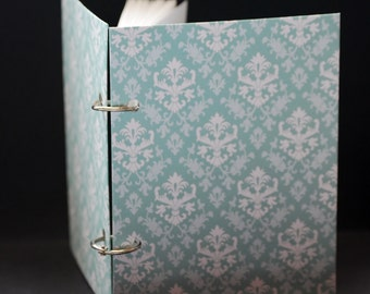 Damasco en polvo verde azulado, cojín de nota, Bloc, jotter, diario mini, mini notebook, páginas sin forro, tamaño de bolsillo, planificador, hacer listas