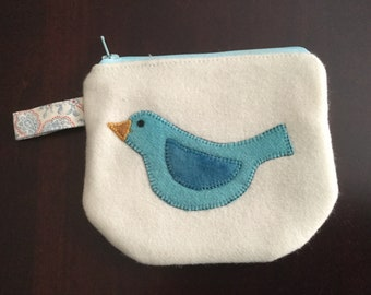 Zip Notion Bag, Wool Applique, Bluebird
