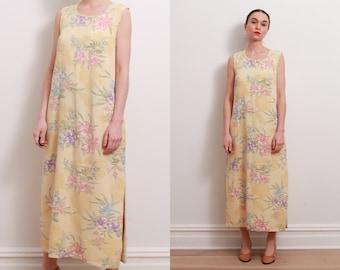 90s Pale Yellow Floral Dress / S-M