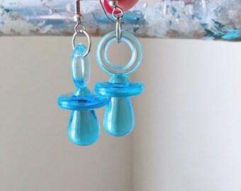 Vintage Earrings Dangle Blue Pacifiers