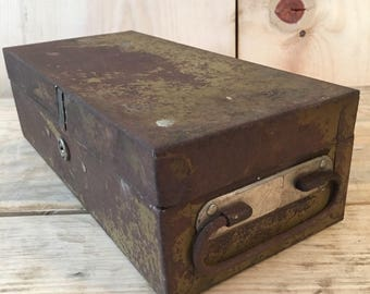 Vintage Metal Storage Box with Handle - Industrial Home Decor, Storage Box, Organizer and more