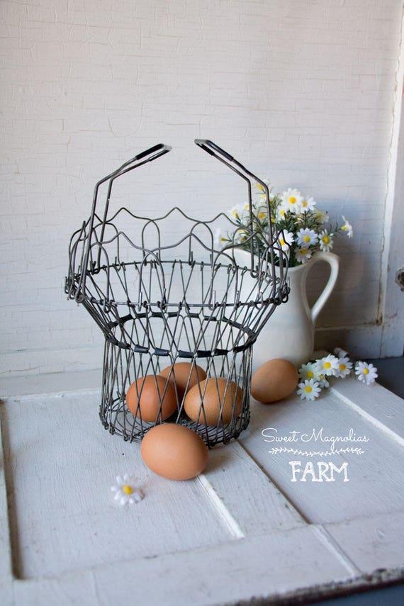 Vintage Wire Egg Basket Collapsible Changes Shape