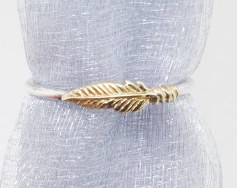 Solid Gold Feather Ring Gift for Her - Stacking Ring - Midi Ring - Knuckle Ring - Bohemian Ring - Minimalist Ring