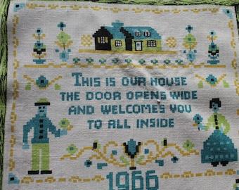 Vintage Linen Tea Towel, 1966 Calendar, Welcome Poem, Blue, Green, and Yellow, Calendar Tea Towel