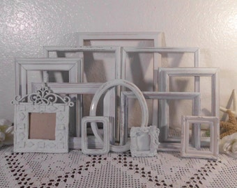 Frame Set White Shabby Chic Distressed Picture Photo Decoration Beach Cottage Paris Apartment French Country Farmhouse Home Decor Gift Her
