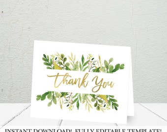 Greenery and Gold Thank You Cards Template, DIY Thank You Card, Thank You Note Personalized, Shower Thank You Cards Instant Download