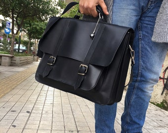 Leather Briefcase Men, Black Leather Messenger Bag, Men's Briefcase, Laptop Briefcase, Messenger Bag, 17'' Laptop Bag, Made in Greece.