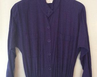 1970s New Hero Midnight Blue Cotton Gauze Shirt Dress