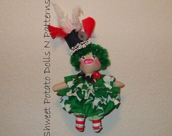 Primitive Irish Art Doll Raggedy Cloth Mixed Media Handmade