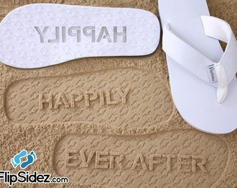 Custom Happily Ever After Flip Flops - Personalized Sand Imprint for Wedding, Bridal, Honeymoon *check size chart, see 3rd product photo*