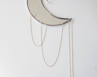 Large Crescent Sexy Moon - Mirror & Rose Gold Chain