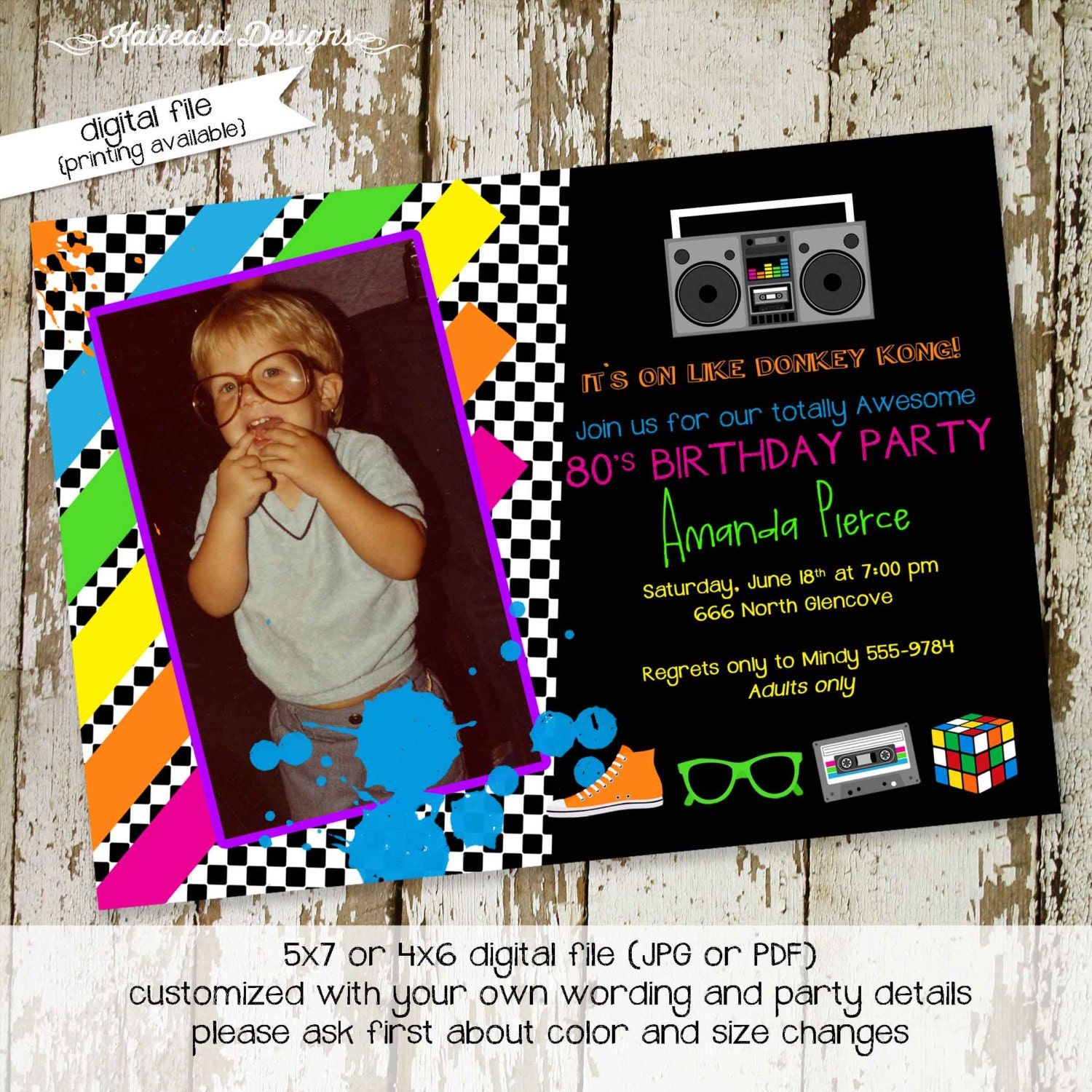 80s party invitation Stock the bar couples shower Totally