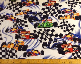 2 yards of Race cars cotton fabric