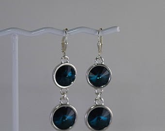 Swarovski Crystal Rivoli Earrings - TierraCast Settings - Shown in Emerald - Available in Several Colors - MADE TO ORDER