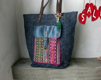 Blue Denim Handbag, Embroidered Tote Bag, Recycled Shoulder Bag, Ethnic Shopping Bag, Summer Bag, Hand Made Boho Bag, Beach Bag