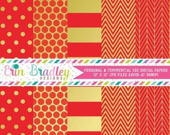 80% OFF SALE Digital Paper Pack Gold Foil & Red Commercial Use Digital Scrapbook Papers Polka Dots Stripes Herringbone and Chevron