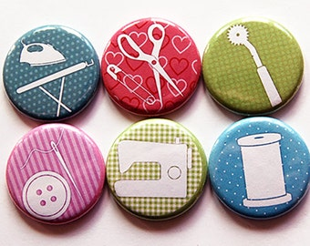 Sewing Magnets, Button magnets, Quilting Magnets, Kitchen Magnets, Fridge Magnet, gift for mom, gift for quilter, gift for seamstress (5463)