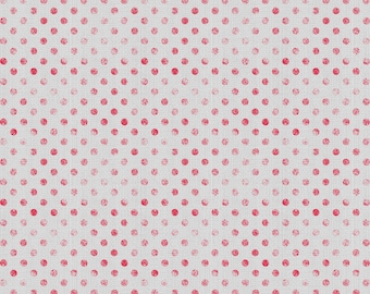 ESSENTIALS DOTSY faded red polka dots on grey cotton print by the 1/2 yard WILMINGTON fabrics 82455-903