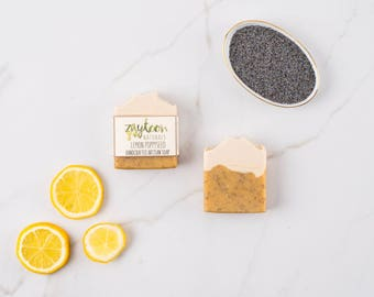 Lemon Poppyseed Soap -- Exfoliating Natural Soap with Poppyseeds and Essential oils -- Vegan Soap