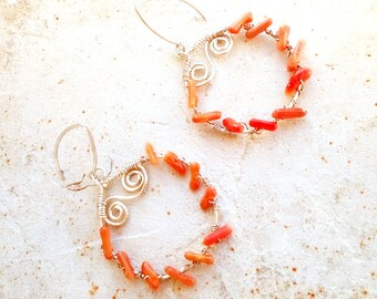 Earrings 925 sterling silver hoop earrings - coral