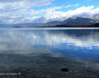 New Zealand Photography, Lake Photograph, Water Photo, Blue Fine Art, Bright Blue Home Decor, Rustic Home Decor, Travel Decor, Adventure
