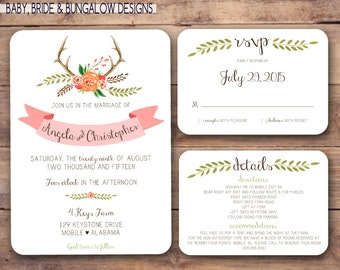 Rustic floral and antler watercolor wedding invite set: Printable