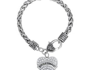 Pretty Bridesmaid Pave Crystal Heart Wedding Bracelet