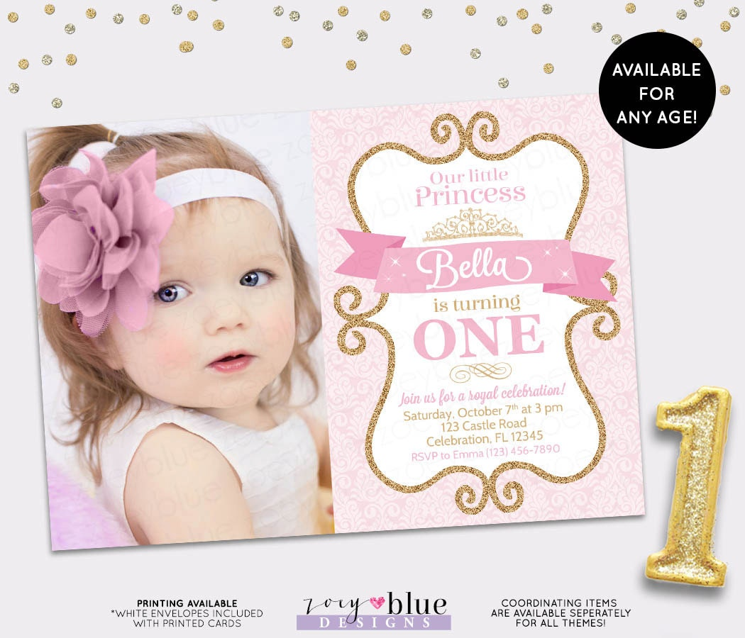 Princess birthday invitation girl gold glitter pink gold for Glitter wedding invitations walmart