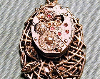 Steampunk Vintage Watch Movement Pendant with Chain OOAK #28