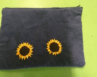 Blue pencil case embroidered/beaded sunflowers