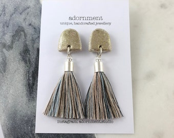 Polymer clay tassel stud earrings in pastel glitter