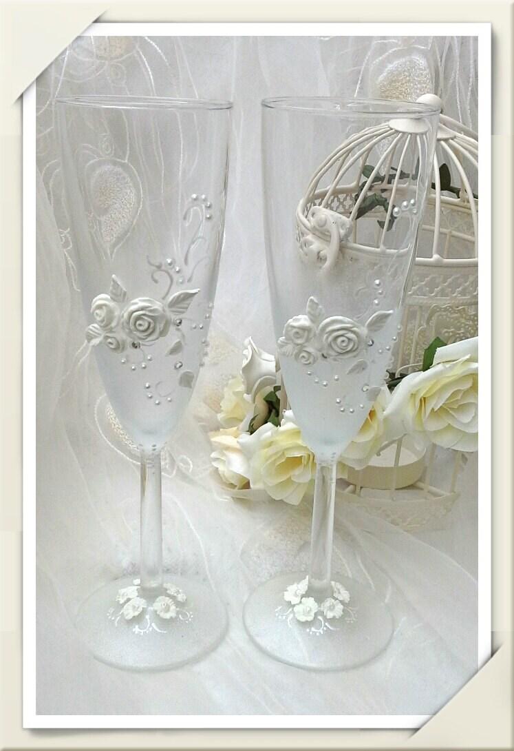 hand painted wedding glasses beaded wedding glasses