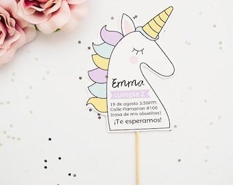 Invitation to parties baby Unicorn