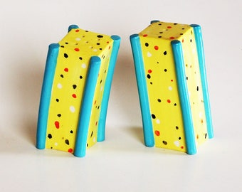 Artsy salt and pepper shakers, 90's vintage, bright, colorful, home decor