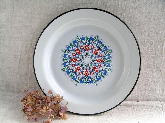 Like this item? & Large Enamel Tray Platter Dish USSR Metal Celtic French