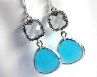 Glass Earrings, Gray, Grey, Charcoal, Blue Earrings, Silver Earrings, Aqua, Wedding, Bridesmaid Earrings, Bridal Earrings, Bridesmaid Gifts