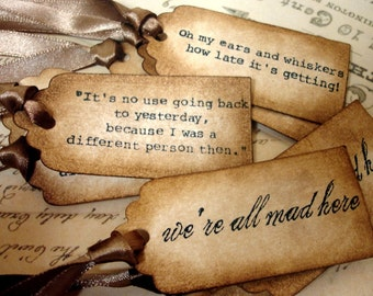 Alice in Wonderland Quote Favor Tags x 9/ Through the Looking Glass Decorations/ Garden Party Vintage Style Tags/ Literature Quotes