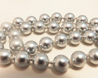 Hand Knotted Silver Freshwater Pearl Necklace
