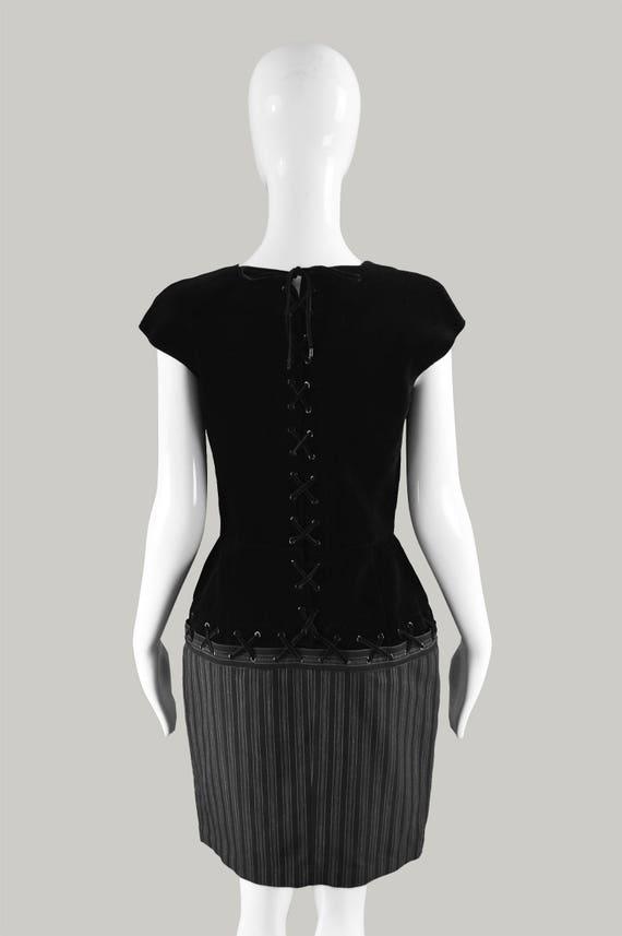 MUGLER Skirt Wool Velvet Party Sleeves Velvet Hourglass Dress Up THIERRY Lace Dress Sweetheart Vintage Cap Neckline Striped 90s Black Bodice TFxUnES