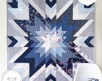 Indigo Star Quilt Paper Pattern