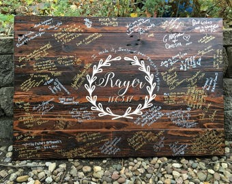 Wedding Guest Book (12x17 inches) alternative RUSTIC Pallet Wood wedding guest book DESIGN 1