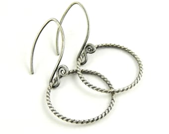 Sterling silver hoop earrings, twist oxidized simple hoops, twisted wire handmade fiddlehead earwires, ready to ship.