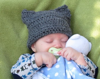 Instant PDF File Easy and adorable 0-6 months baby cat hat crochet pattern