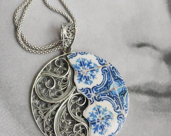 Necklace Filigree Silver Portugal Handmade with Azulejo Tile Replicas - Porto Blue Ribeira - Ships from USA - Gift Box Included