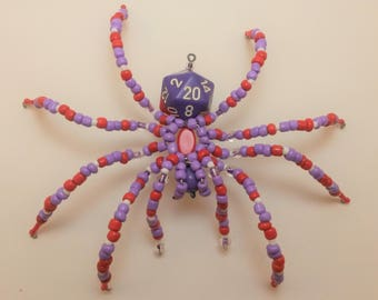 Purple and Red D20 Beaded Spider