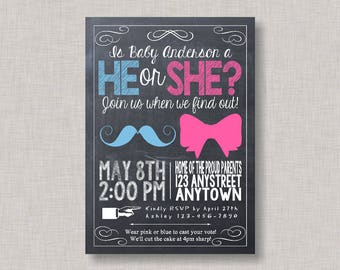 Chalkboard Gender Reveal Invitation, Gender Reveal Invitation, Gender Reveal Party Invitation, Gender Reveal Invite, Gender Reveal