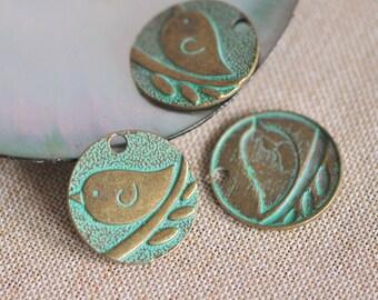 Green Patina Bird Charms, Verdigris Bird Pendants 24mm  (#10609)/ 10pcs