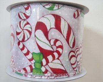 "Christmas Ribbon, 2.5"" x 10Yds, Candy Cane Ribbon, Peppermint Ribbon, Wired Ribbon, Wreath Supply, CC25,,P3e"